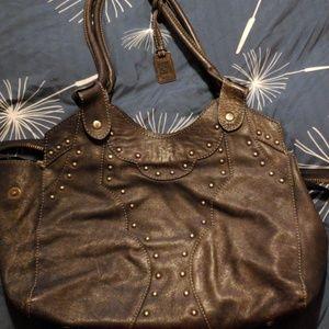 Grey leather handbag